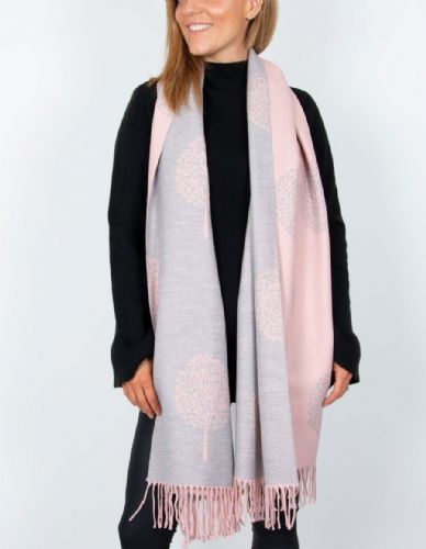 Reversible Mulberry Tree Pashmina & Scarf  - Pink & Grey